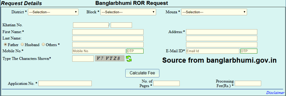 Banglarbhumi ROR Request