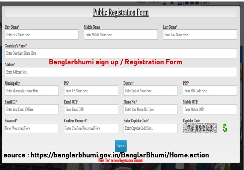 banglarbhumi sign up registration form